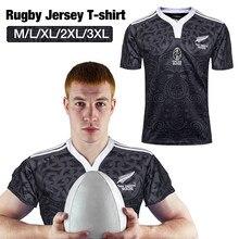 Nova zelândia 100 aniversário comemorativo rugby sports camiseta impressão de alta densidade no colar com nervuras com punhos elásticos S-3XL