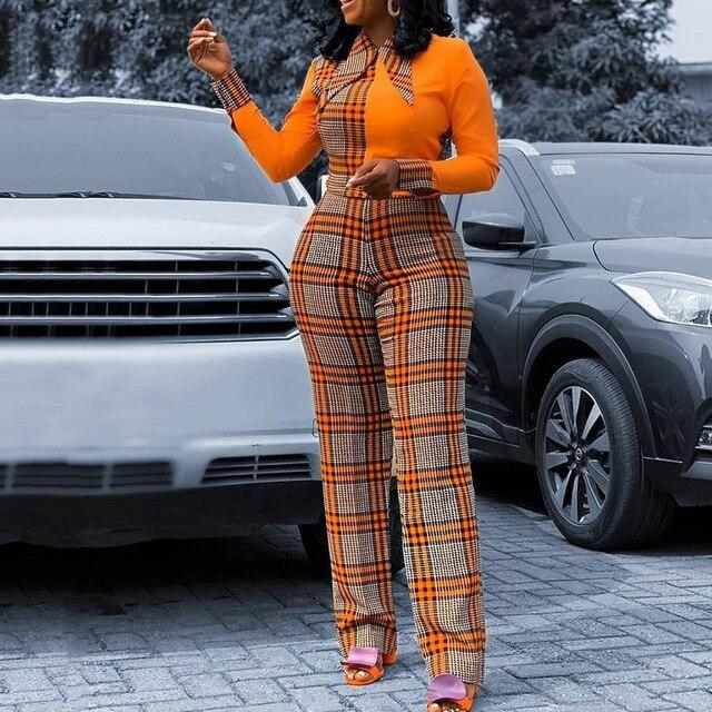 $ US $19.77 Brand Design Vintage Plaid Orange Color Block Long Jumpsuit 2020 Vogue Style Elegant Office Ladies Check High Waist Jumpsuits