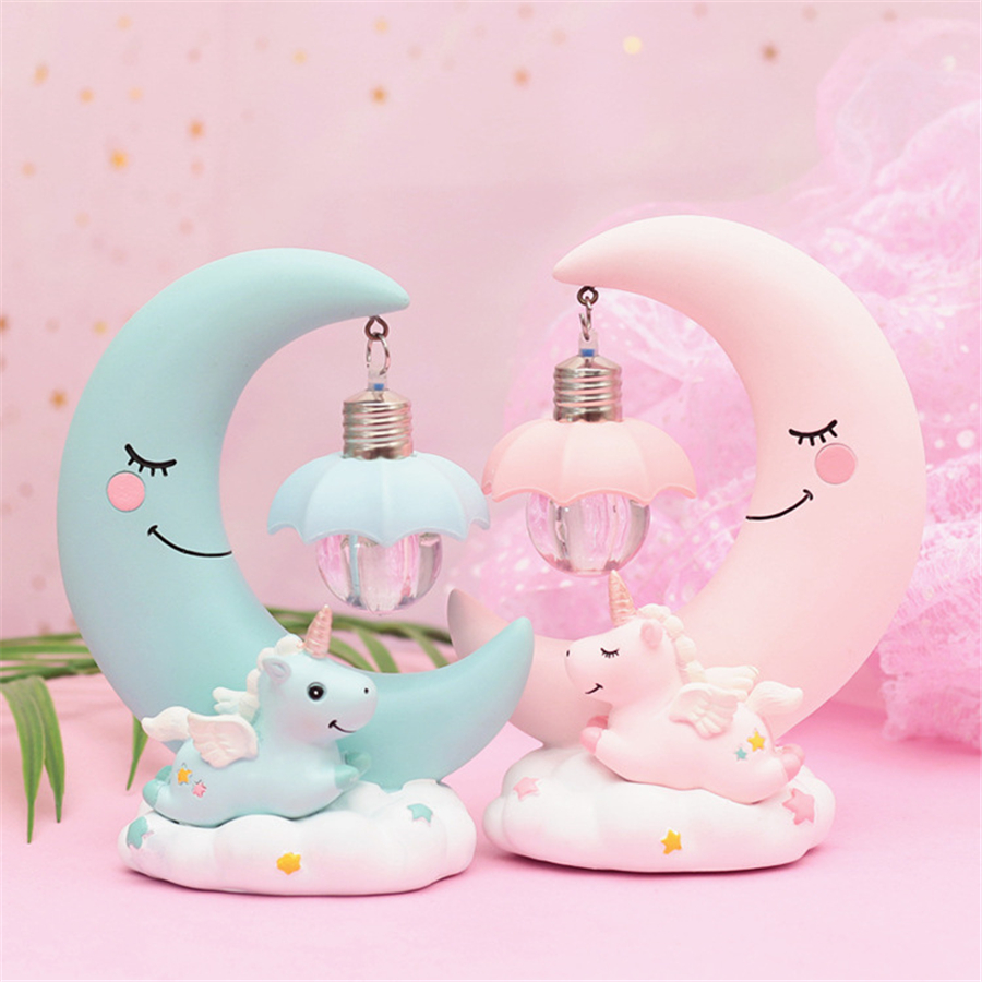 Moon Unicorn Cartoon Baby Nursery Lamp LED Night Light Resin Breathing For Children Kid Girl Toy Christmas Gift