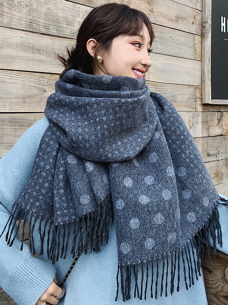 Black Scarf Female Winter Korean Student Shawl Female Autumn Winter Versatile Black Scarf Thickened Warm Leisure Dual Purpose