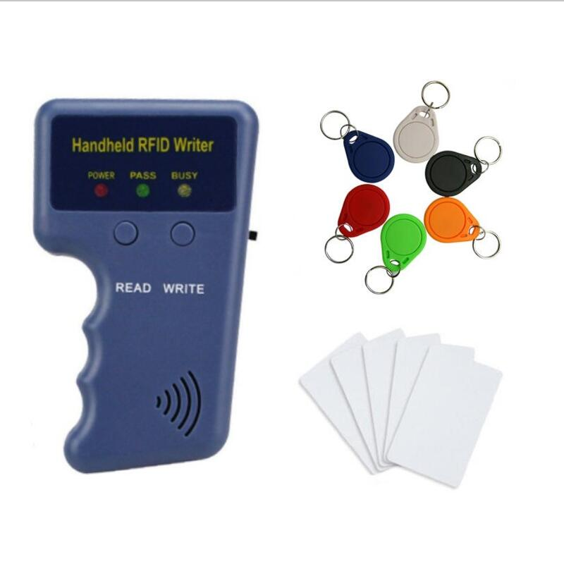 125KHz RFID Copier Writer Duplicator Programmer Reader Handheld Access Control Card Reader + Rewritable Keyfobs Tags Card