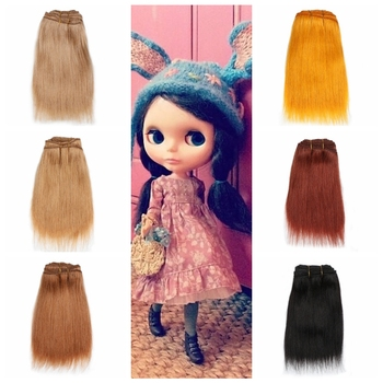 Wool Hair Extensions 18cm*100cm  Gloden Pink Black Straight Wool Hair Pieces for All Dolls DIY Wigs Hair Wefts Doll Accessories 1 pieces 15 100cm wool hair wefts for bjd sd blyth russian hand dolls curly hair extensions diy doll wigs hair doll accessories