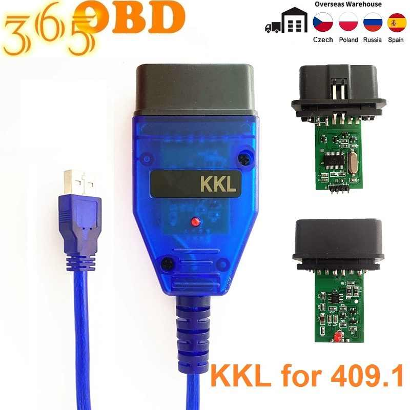 KKL 409.11 2 V, conector USB a toma de 16 pines, 150 cm, incluye controlador de CD para PC Engine Cable de esc/áner de diagn/óstico OBD2 para coche