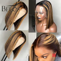 Beeos 150% 13*6 Deep Part Lace Front Human Hair Wig Straight Bob Highlight Pre Plucked Brazilian Remy Hair Bleached Knots