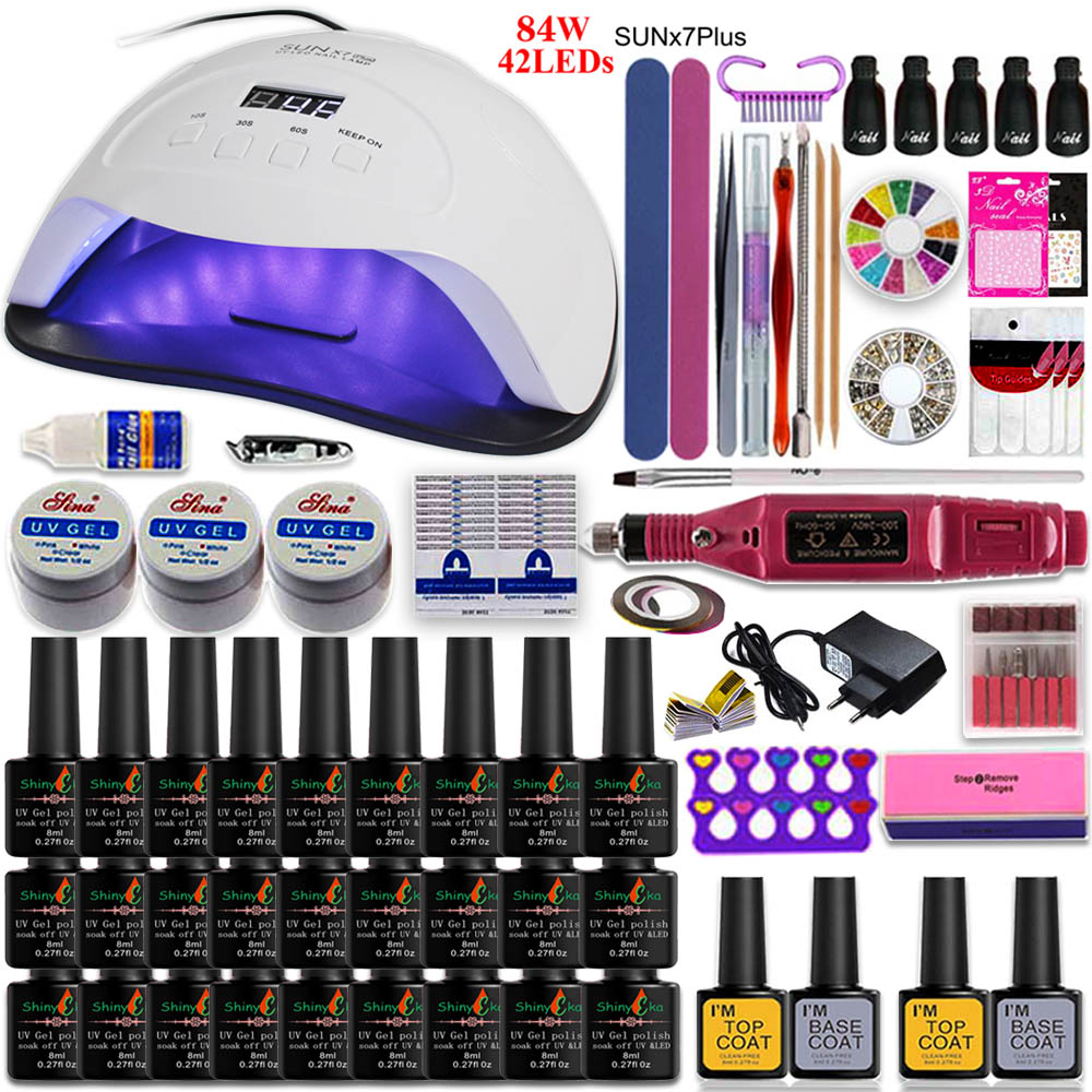 84W/54W/36W Led Uv Nail Lamp Choose 27/20 Color Gel Nail Polish Varnish Acrylic Kit Electric Nail Drill Machine For Manicure Set