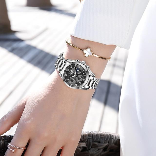 LIGE Luxury Ladies Watch Women Waterproof Rose Gold Steel Strap Women Wrist Watches Top Brand Bracelet Clocks Relogio Feminino 5