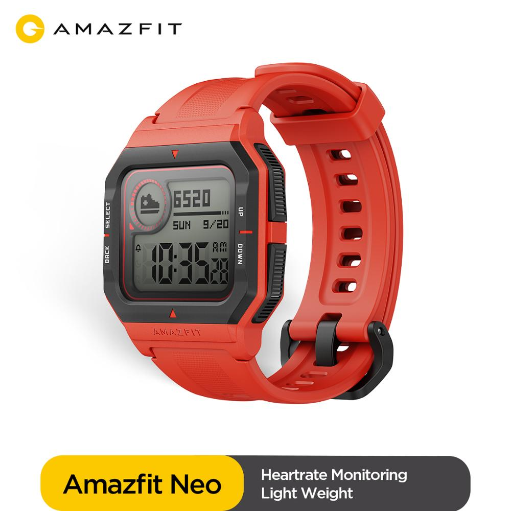 Global Amazfit Neo Smartwatch 28 Days Battery Life Message Notification 5ATM 3 Sports Modes Heart Rate Track Man Watch