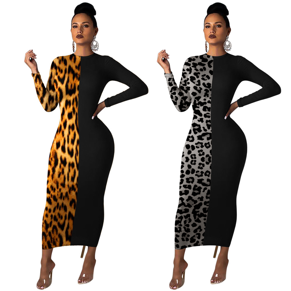 Autumn and winter <font><b>ladies</b></font> fashion long-sleeved round neck leopard stitching <font><b>sexy</b></font> tight <font><b>dress</b></font> Christmas party costume image