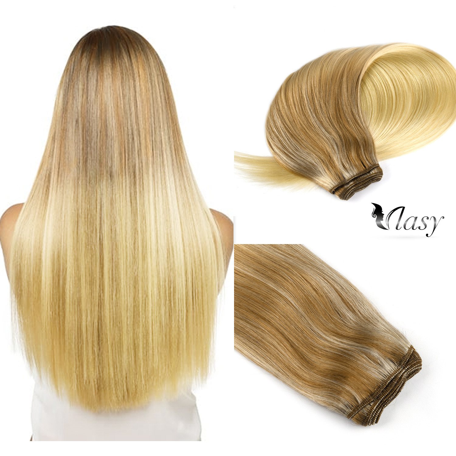 Vlasy 100g/pc 22'' Hair Weave Bundles Straight Remy Weft Hair Extension Caramle & Cream Balayage Color Double Weft Hair