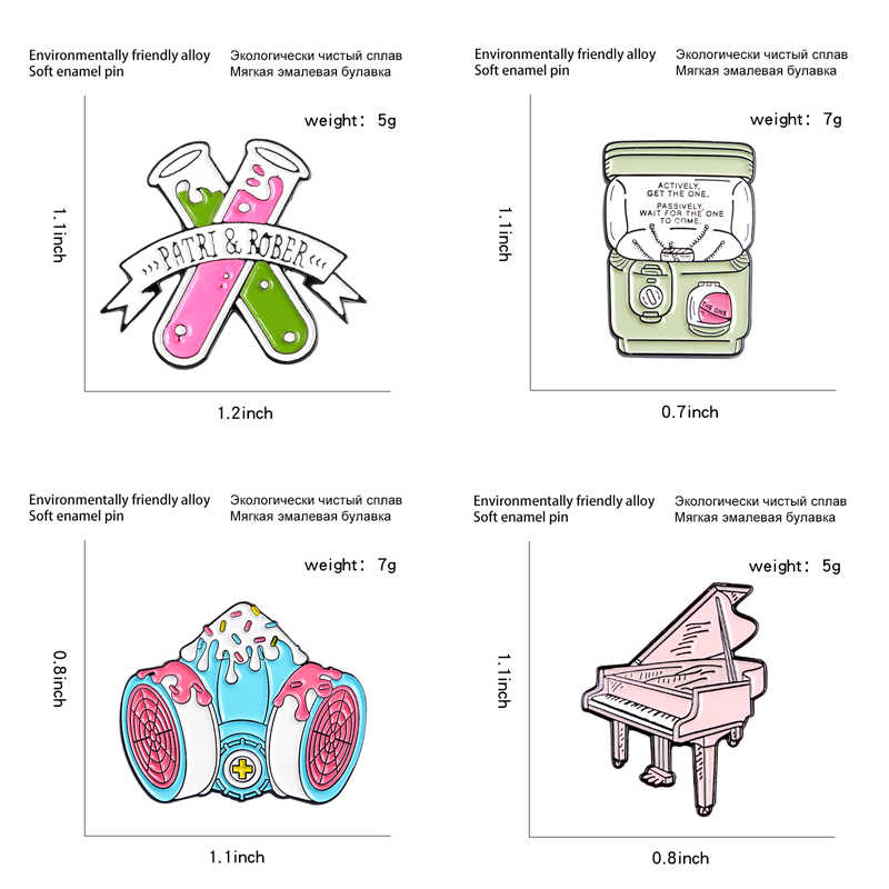 Desenhos animados rosa piano esmalte pinos retro computador máquina de jogo broche bonito copo café botão emblema moda saco jóias para amigos