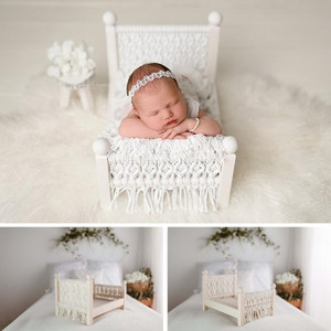 Newborn Photography Props Furniture Vintage Hand-woven Tassel Bed Screen Baby Boy Girl Photo Props For Photo Shoot Accessories