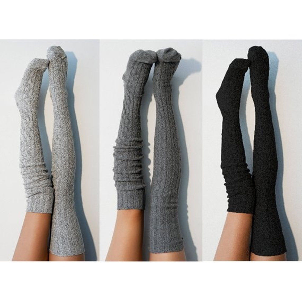 Women Winter Cotton Thick Crochet Cable Knit Over Knee Long Boot Wool Warm Thigh High Stockings Pantyhose Leg Warmers Black Gray