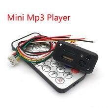 Carro 5 V/12 V Mini MP3 Decodificador Bordo USB Leitor TF U-Disk MP3 Player Com Amplificador controle Remoto IR Para Uno