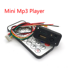 Carro 5 V/12 V Mini MP3 Decodificador Bordo USB Leitor TF U Disk MP3 Player Com Amplificador controle Remoto IR Para Uno