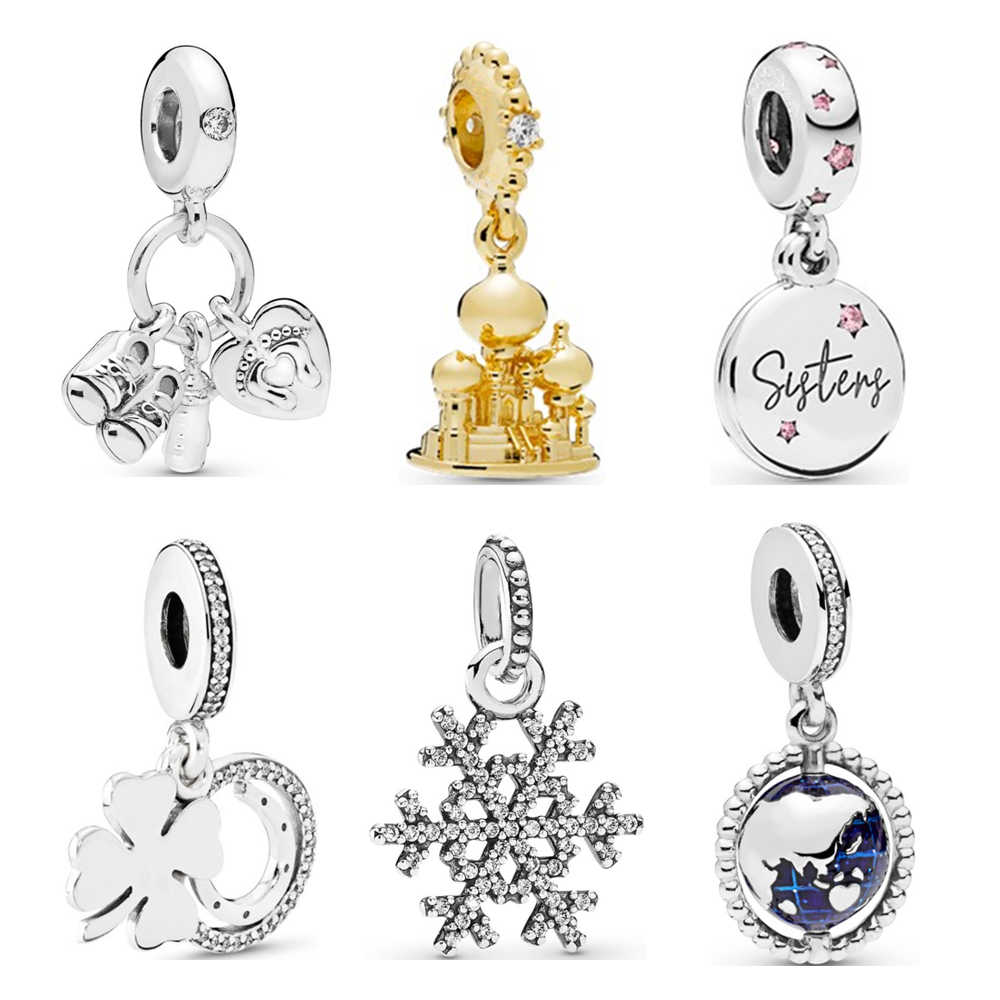 New Original Sliver 925 Bead Alloy Earth Castle Baby Snowflake Charm Fit Pandora Bracelet Necklace DIY Women Jewelry