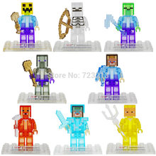 Single Sale Cartoon Figure Crystal Clear Translucent Building Blocks Set Model Bricks Toys For Children D851(China)