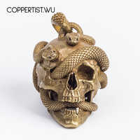 COPPERTIST. WU Original Schädel Schlange Keychain Solide Messing Halskette Anhänger Auto Schlüssel Kette Punk Rock Metall Skeleton Zubehör