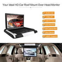 12 inch Monitor 1080P Video HD Digital TFT Screen Widescreen Ultra thin Mounted Car Roof Player HDMI AV FM USB SD MP5 NO DVD