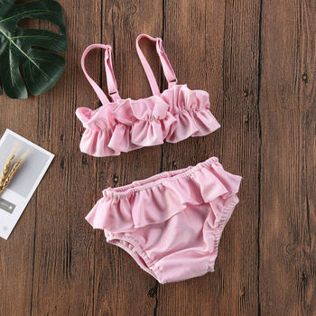 CANIS Toddler Baby Girls Ruffle Sling Fashion Lovely Swimwear Bow Bikini Swimsuit Swimming Costume