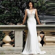 Verngo マーメイドウェディングドレス 2020 レースアップリケウェディングドレスエレガントな染色花嫁ドレス Vestido デ Noiva Curto