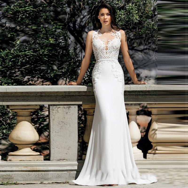 Verngo Mermaid Wedding Dresses 2020 Lace Appliques Wedding Gowns Elegant Stain Bride Dress Vestido De Noiva Curto
