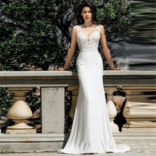 Verngo Mermaid Wedding Dresses 2020 Lace Appliques Wedding Gowns Elegant Stain Bride Dress Vestido De Noiva Curto