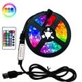 Светодиодная лента RGB SMD2835, ИК-пульт дистанционного управления, 5 в постоянного тока, 1 м, 2 м, 3 м, 4 м, 5 м, USB, гибкая лампа-полоска, декоративная н...