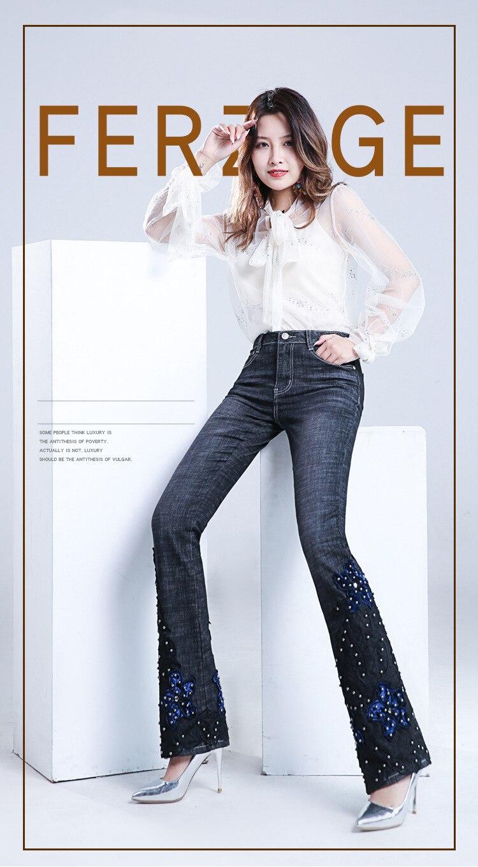KSTUN FERZIGE Jeans Women Embroidered Hand Beads Black Blue High Waist Stretch Denim Pants  Bell Bottom Sexy Lady Jeans Boot Cut Mujer 11