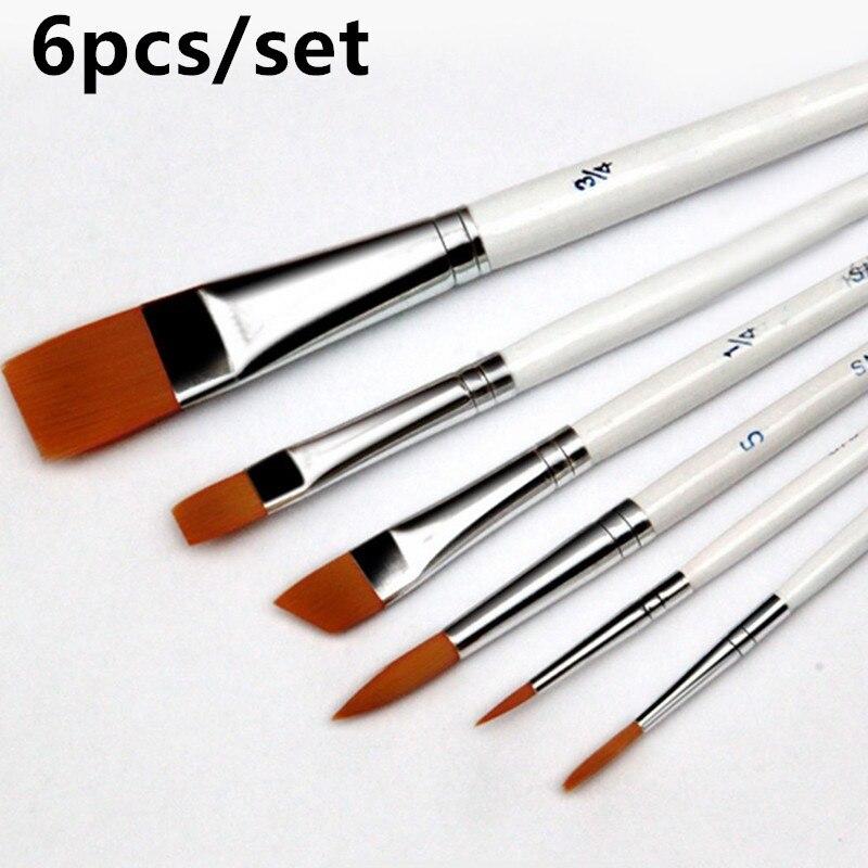 6pcs /set Painting Brush Oil Paint Nylon Hair Water Color Painting Brush Acrylics Brush Art Set Oil Painting Brushes(China)