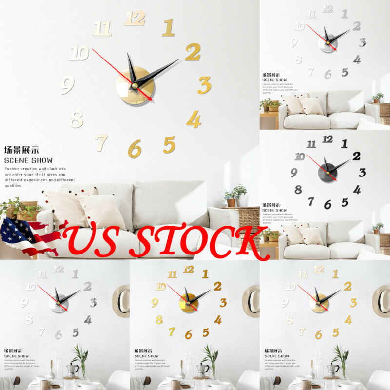US Modern Large Wall Clock 3D Mirror Sticker Unique Big Number Watch DIY Decor