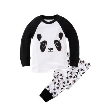 Dzieci piżamy dla chłopców dziewcząt piżamy Bbay bawełna pełna rękaw Panda piżama dzieci Cartoon Pijama zestawy maluch Homewear Nightie tanie i dobre opinie COTTON Wokół szyi Unisex REGULAR 2T-8T(2-8 years) Pasuje mniejszy niż zwykle proszę sprawdzić ten sklep jest dobór informacji