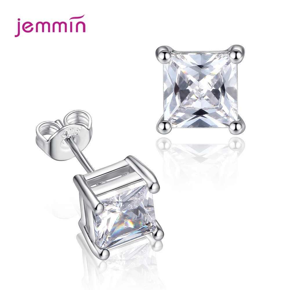 Oryginalne 925 kolczyki sztyfty ze srebra wysokiej próby dla kobiet dziewczyn koreański nowy Trend w modzie piękne musujące kryształowe kolczyki