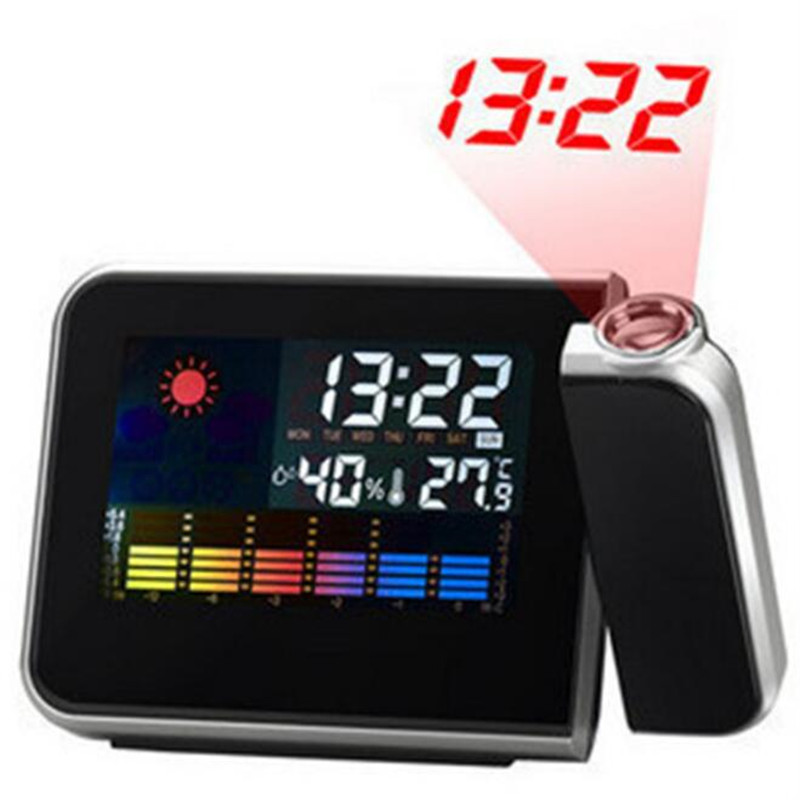 Projectie Digitale Wekker Snooze Weer Temperatuur En Vochtigheid Tijd Display Projector Usb Charger Led Tafel Klok