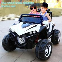 Napęd na cztery koła dla dzieci samochody elektryczne z podwójne siedzenia dla dzieci zdalnie sterowanym samochodowym jeździć na 2-8 lat jazda konna zabawka pojazd terenowy tanie tanio Metal CN (pochodzenie) 3 lat Diecast Samochód