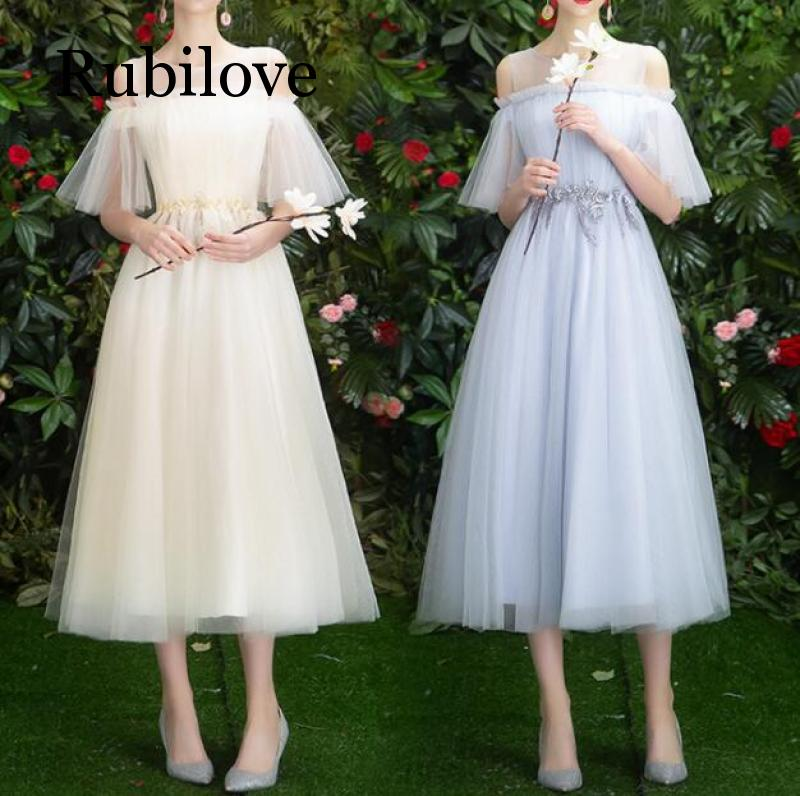 Rubilove 2019 summer new gray bridesmaid dress female banquet slim party
