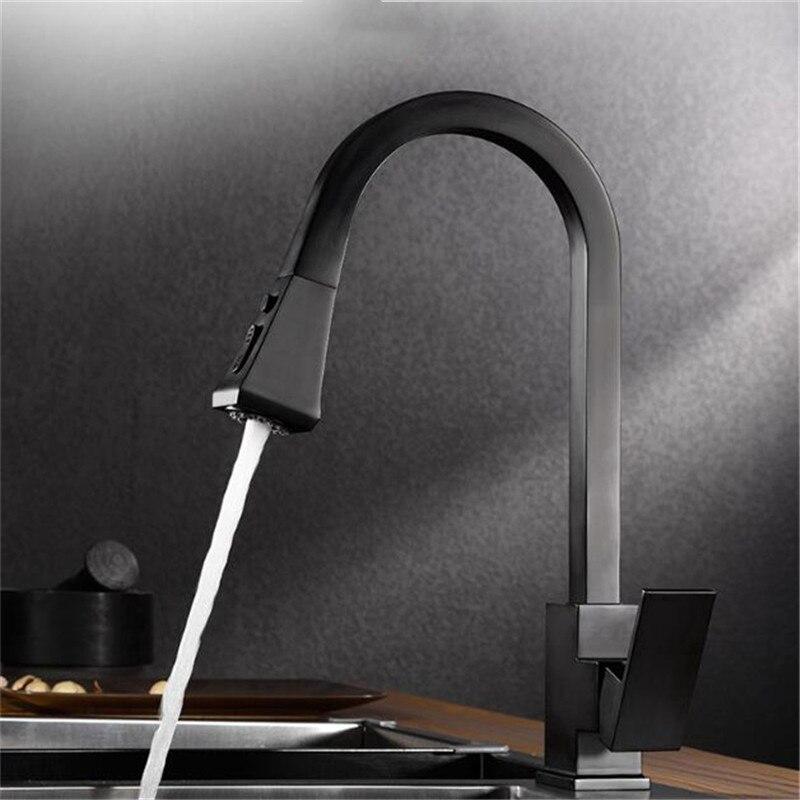 Robinets de cuisine poignée unique Pull laiton noir argent filtre pont monté mélangeur