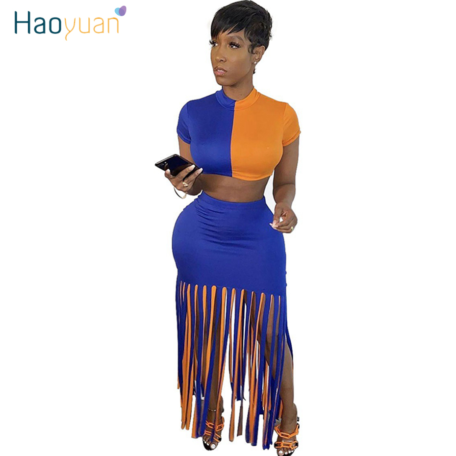 HAOYUAN Sexy Splice Two Piece Set Summer Clother For Women Crop Top Tassle Maxi Skirt Suit 2 Piece Club Outfits Matching Sets