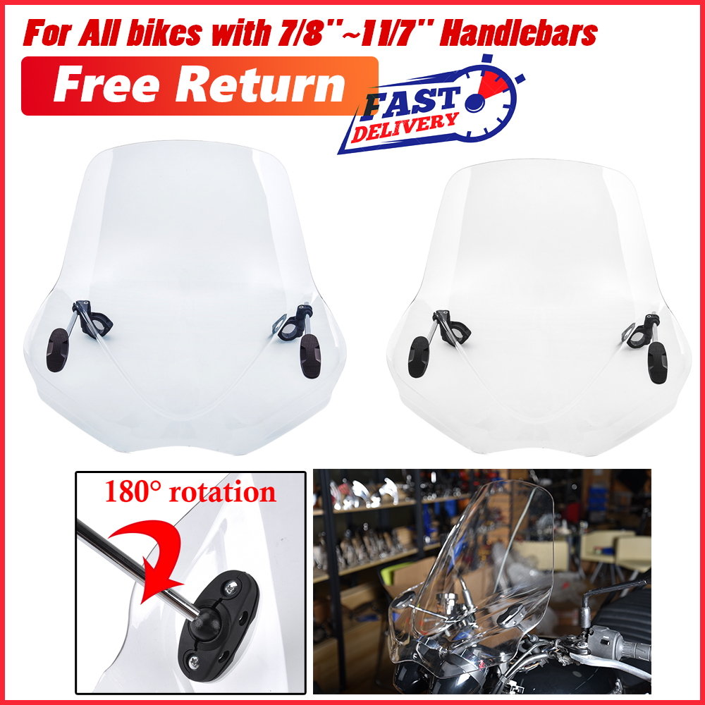 "7//8/"" 1/"" Windshield WindScreen Universal For Motorcycle Handlebar Screen US E"