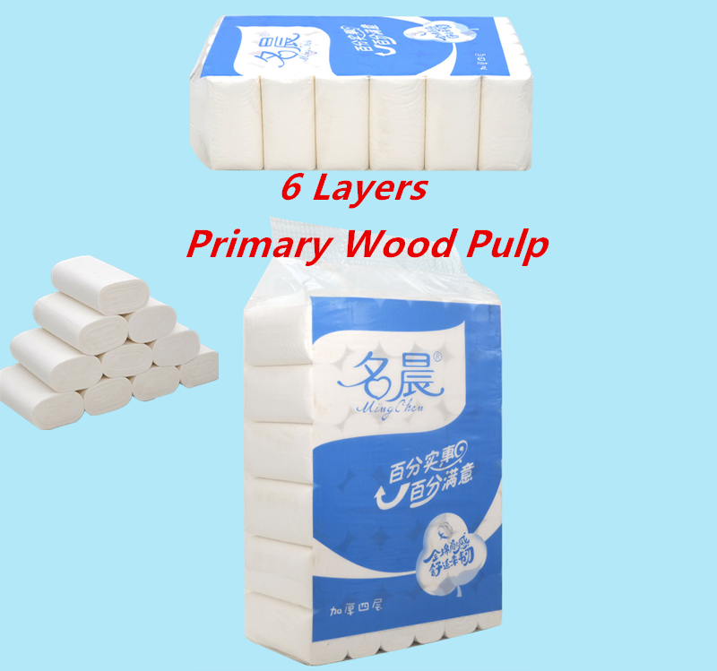In Stock 4 Layers No Fluorescen Toilet Roll Paper Wood Pulp Primary Toilet Paper Tissue Roll Home Bath Toilet Roll Paper