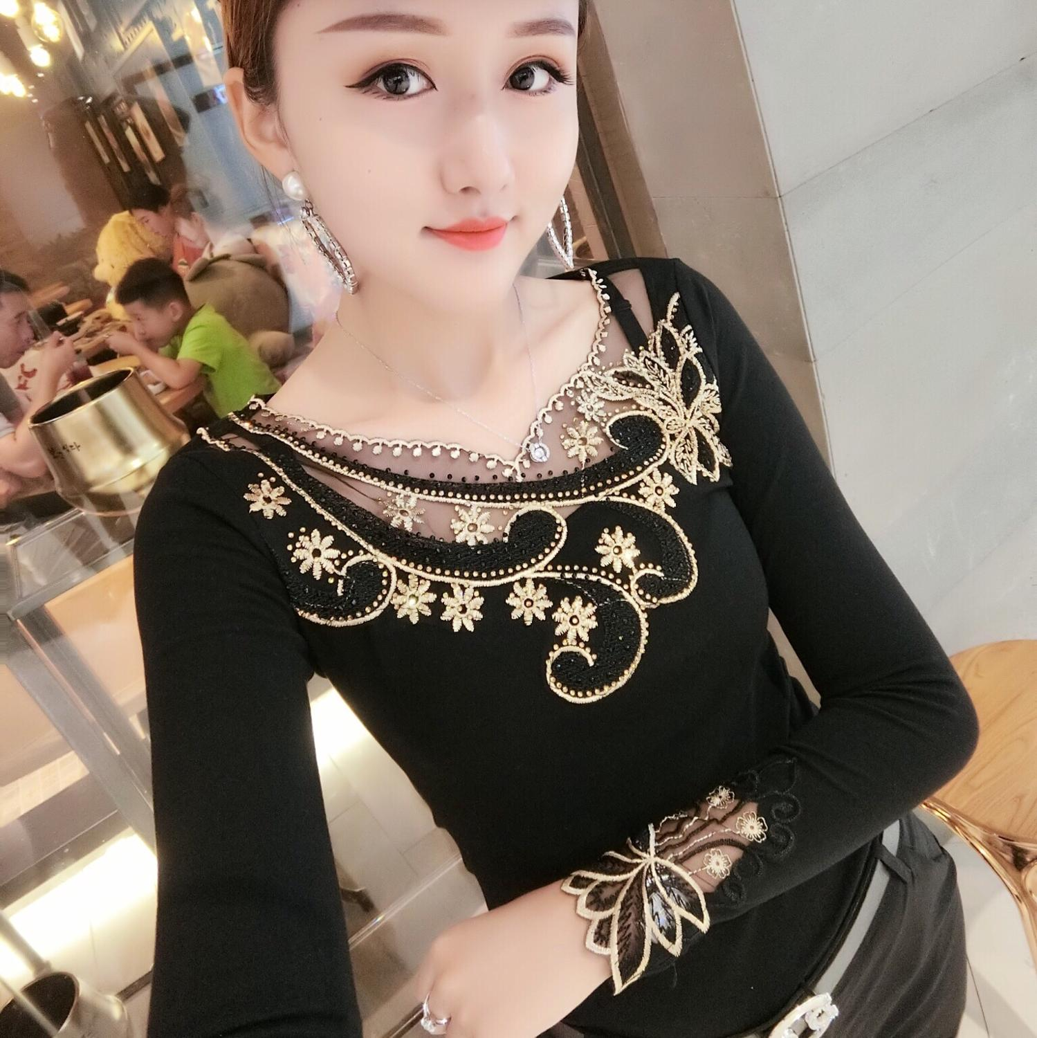 Fashion Sexy Embroidery Patchwork Flowers Diamonds Tshirt 2019 New Autumn Winter Women Top Shirt Clothes Camiseta Mujer T98814