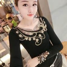 Moda sexy bordado retalhos flores diamantes tshirt 2019 novo outono inverno feminino camisa superior roupas camisa mujer t98814