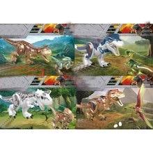 Jurassic world Dinosaur tyrannosaurus rex Carnotaurus Velociraptor Dilophosaurus Pterosaur building blocks bricks toys for Kids new jurassic dilophosaurus flee dinosaur world lepins building block figures motorcycle base bricks educational toys for gifts