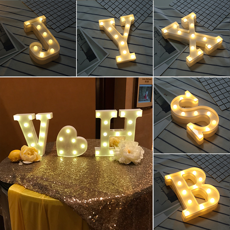 Alphabet Letter Lights Soft Warm Glow LED Light Up Warm White Plastic Illuminate Letters Wall Hung Standing Hanging