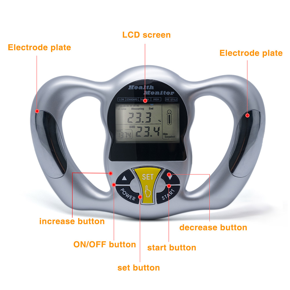 Wireless Portable Digital LCD Screen Handheld BMI Tester Body Fat Monitors Health Care Analyzer Fat Meter Detection in Bathroom Scales from Home Garden