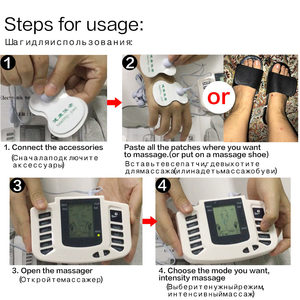 Image 2 - Russian/English Button Electrical Muscle Stimulator Slimming Massager Pulse Tens Acupuncture Machine + Slippers +16Pads + Gloves