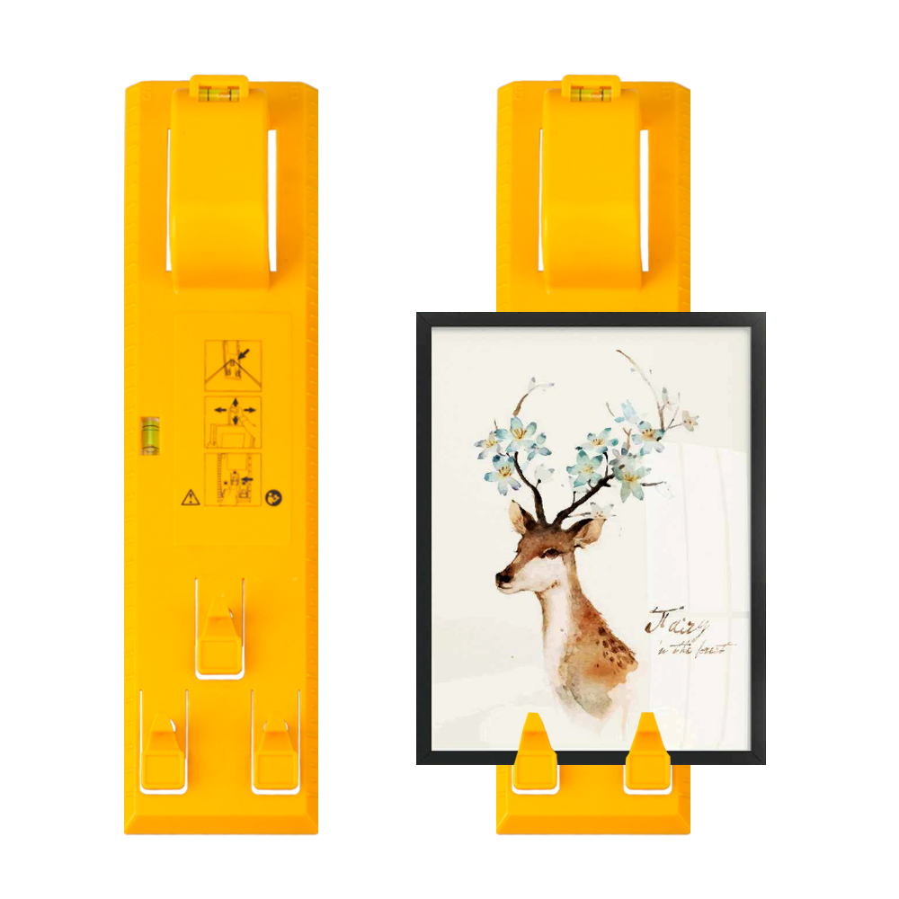 New Hang & Level Picture Hanging Kit, Yellow Picture Hanger Tool With A Stainless Steel Ruler, Picture Frame Level Ruler Perfect