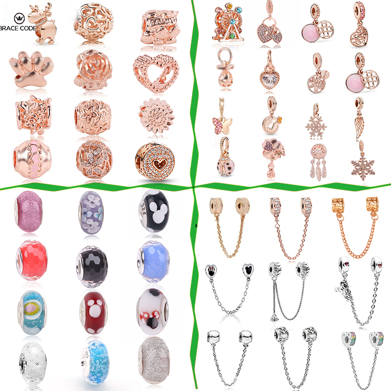 2Pcs/lot new listed rose gold charm Christmas charms for original Pandora magic beads bracelet necklace ladies DIY accessories