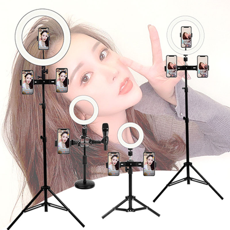 10 inch LED Selfie Ring light Stepless Lighting Dimmable Fill Light Lamp USB For Streaming Camera Video microphone Stand Tripod