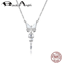 925 Sterling Silver Sparkling Zircon Dancing Butterfly Pendant CZ Necklaces For Women Wedding Fine Jewelry real 925 sterling silver alphabet o zircon pendant necklaces for women cz geometric wedding fine jewelry
