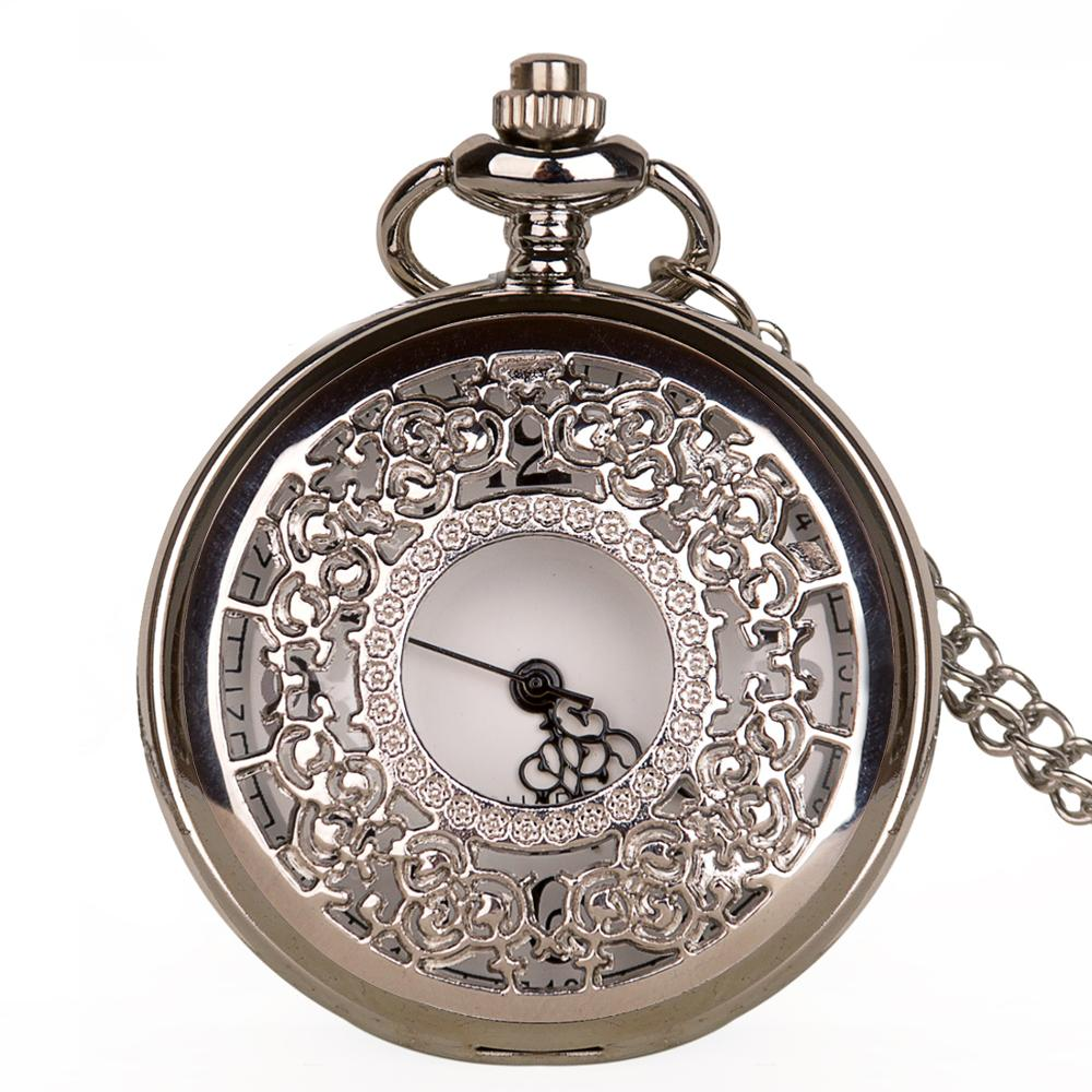 Vintage Retro Silver Tone Quartz Hollow Pocket Watch Men Watches Necklace Pendant With FOB Chian Luxury Pretty Gifts Women Clock